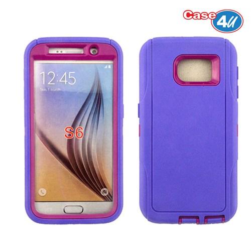 Case 4U Samsung Galaxy S6 Darbeye Dayanıklı Kılıf Lacivert/Mor