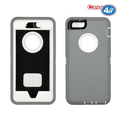 Case 4U Apple İphone 6 Plus Darbeye Dayanıklı Kılıf Krem/Gri