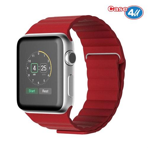 Case 4U Apple Watch 42 Mm Deri Loop Kayış Kırmızı