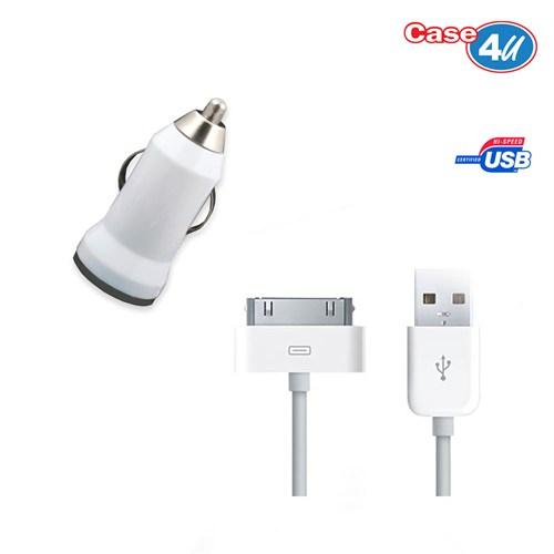 Case 4U Apple İphone 4 Araç Şarj Cihazı+Şarj Ve Data Kablosu
