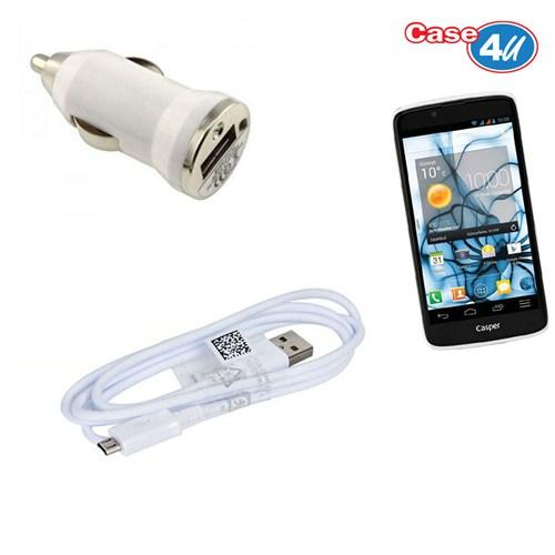 Case 4U Casper Via V4 Araç Şarj Cihazı+Micro Usb Kablo