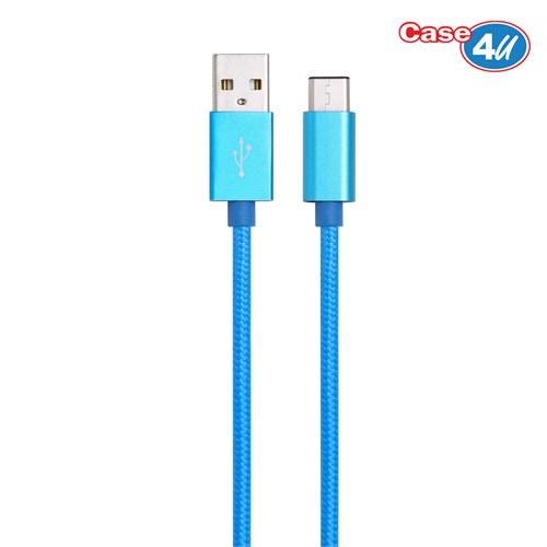 Case 4U Usb 3.1 Type-C Şarj Ve Data Kablosu İp Doku Mavi