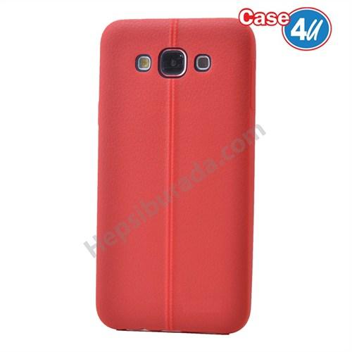 Case 4U Samsung Galaxy E5 Desenli Silikon Kılıf Kırmızı