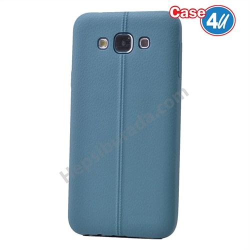 Case 4U Samsung Galaxy E5 Desenli Silikon Kılıf Koyu Mavi