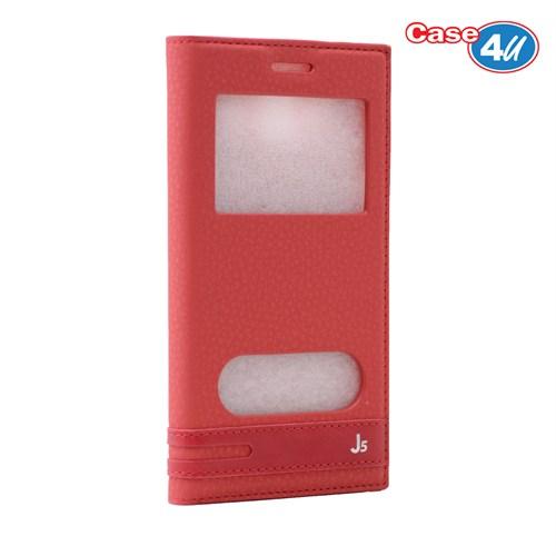 Case 4U Samsung Galaxy J5 Pencereli Kapaklı Kılıf Kırmızı