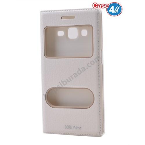 Case 4U Samsung Galaxy Core Prime Pencereli Kapaklı Kılıf Beyaz