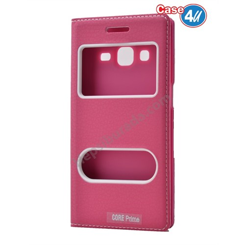 Case 4U Samsung Galaxy Core Prime Pencereli Kapaklı Kılıf Pembe