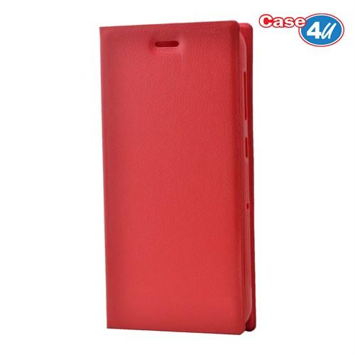Case 4U Turkcell T60 Gizli Mıknatıslı Kapaklı Kılıf Kırmızı