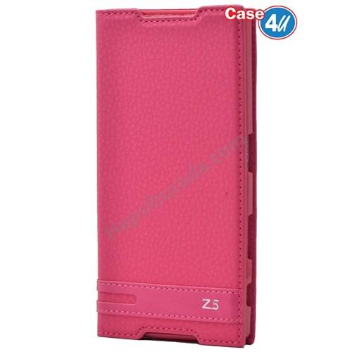Case 4U Sony Xperia Z5 Gizli Mıknatıslı Kapaklı Kılıf Pembe