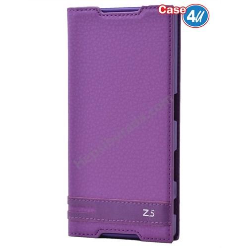 Case 4U Sony Xperia Z5 Gizli Mıknatıslı Kapaklı Kılıf Mor