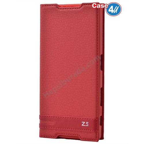 Case 4U Sony Xperia Z5 Gizli Mıknatıslı Kapaklı Kılıf Kırmızı