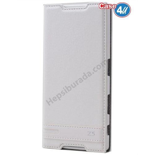 Case 4U Sony Xperia Z5 Gizli Mıknatıslı Kapaklı Kılıf Beyaz