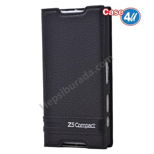 Case 4U Sony Xperia Z5 Compact Gizli Mıknatıslı Kapaklı Kılıf Siyah