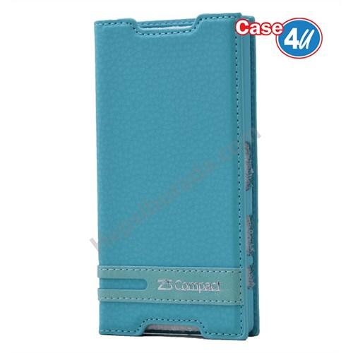 Case 4U Sony Xperia Z5 Compact Gizli Mıknatıslı Kapaklı Kılıf Mavi