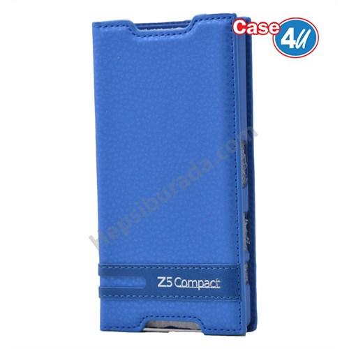 Case 4U Sony Xperia Z5 Compact Gizli Mıknatıslı Kapaklı Kılıf Koyu Mavi