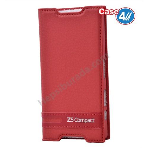 Case 4U Sony Xperia Z5 Compact Gizli Mıknatıslı Kapaklı Kılıf Kırmızı