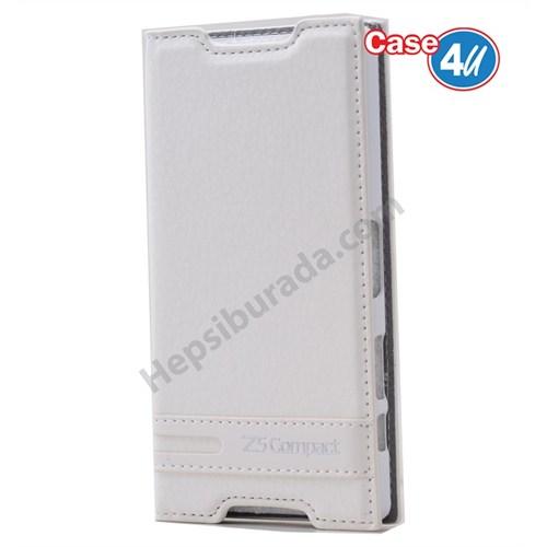 Case 4U Sony Xperia Z5 Compact Gizli Mıknatıslı Kapaklı Kılıf Beyaz