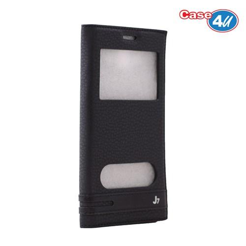 Case 4U Samsung Galaxy J7 Pencereli Kapaklı Kılıf Siyah