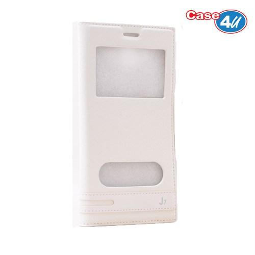 Case 4U Samsung Galaxy J7 Pencereli Kapaklı Kılıf Beyaz