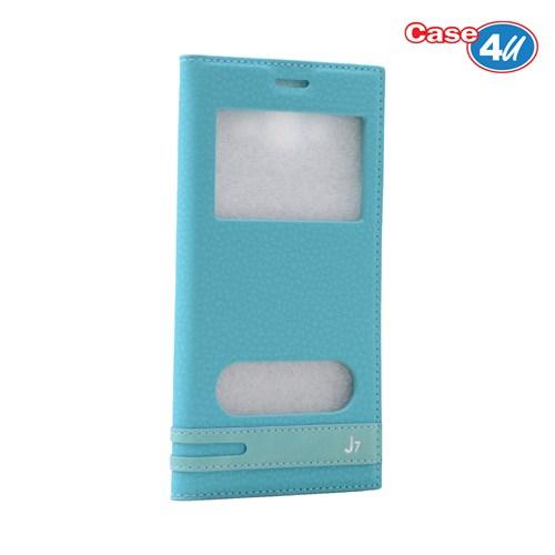 Case 4U Samsung Galaxy J7 Pencereli Kapaklı Kılıf Mavi