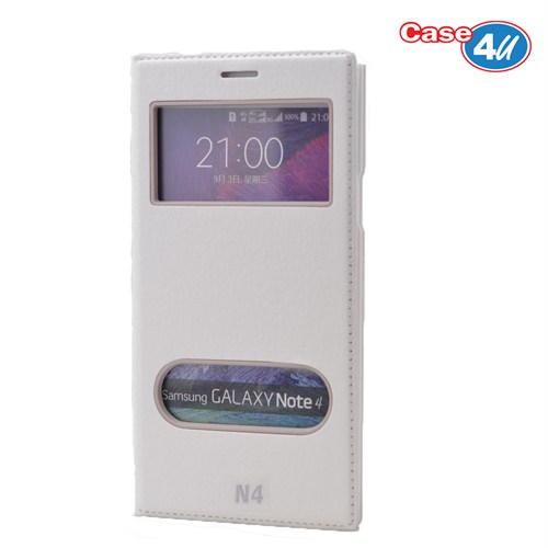 Case 4U Samsung Galaxy Note 4 Pencereli Kapaklı Kılıf Beyaz