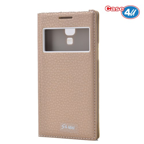 Case 4U Samsung Galaxy S4 Mini Pencereli Kapaklı Kılıf Altın