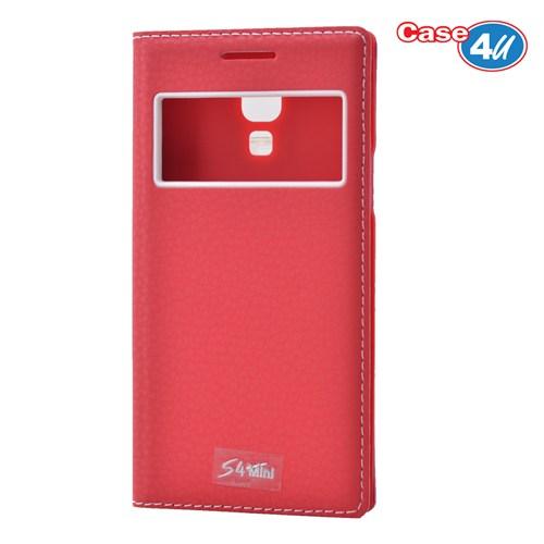 Case 4U Samsung Galaxy S4 Mini Pencereli Kapaklı Kılıf Kırmızı