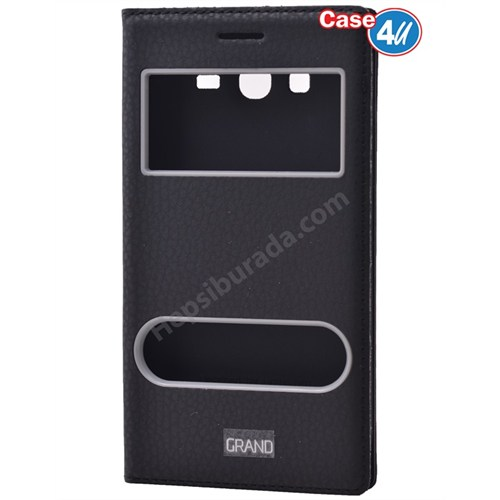 Case 4U Samsung Galaxy Grand Neo Pencereli Kapaklı Kılıf Siyah