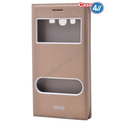 Case 4U Samsung Galaxy Grand Neo Pencereli Kapaklı Kılıf Altın