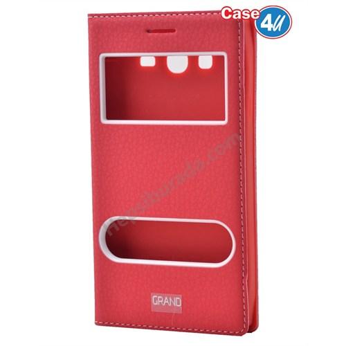 Case 4U Samsung Galaxy Grand Neo Pencereli Kapaklı Kılıf Kırmızı