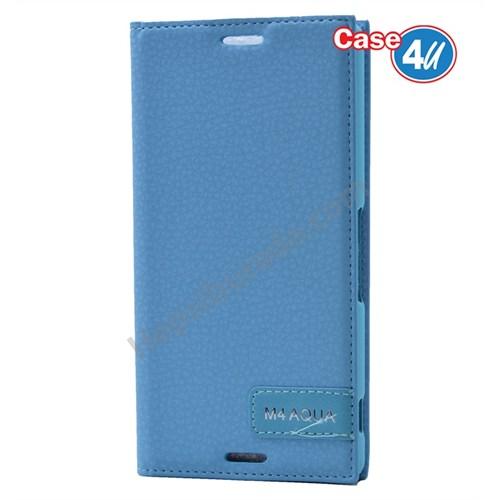 Case 4U Sony Xperia M4 Aqua Gizli Mıknatıslı Kapaklı Kılıf Mavi