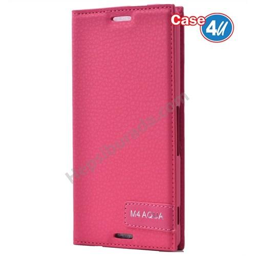 Case 4U Sony Xperia M4 Aqua Gizli Mıknatıslı Kapaklı Kılıf Pembe