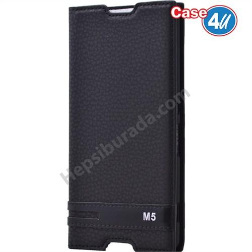 Case 4U Sony Xperia M5 Gizli Mıknatıslı Kapaklı Kılıf Siyah