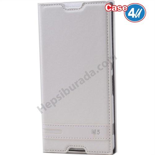Case 4U Sony Xperia M5 Gizli Mıknatıslı Kapaklı Kılıf Beyaz