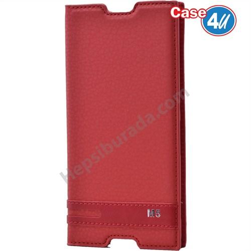 Case 4U Sony Xperia M5 Gizli Mıknatıslı Kapaklı Kılıf Kırmızı