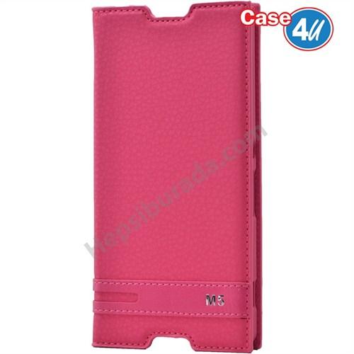 Case 4U Sony Xperia M5 Gizli Mıknatıslı Kapaklı Kılıf Pembe