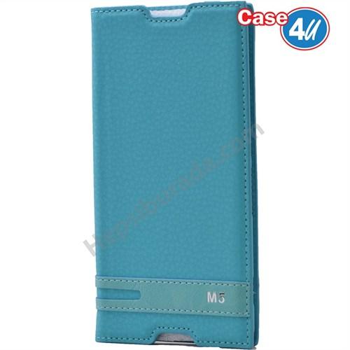 Case 4U Sony Xperia M5 Gizli Mıknatıslı Kapaklı Kılıf Mavi