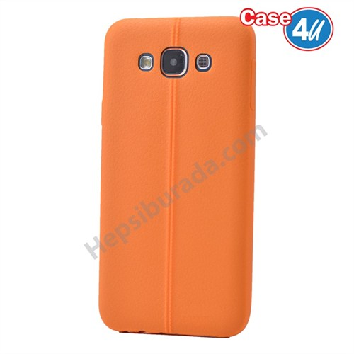 Case 4U Samsung Galaxy A7 Desenli Silikon Kılıf Turuncu