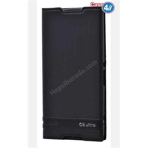 Case 4U Sony Xperia C5 Ultra Gizli Mıknatıslı Kapaklı Kılıf Siyah