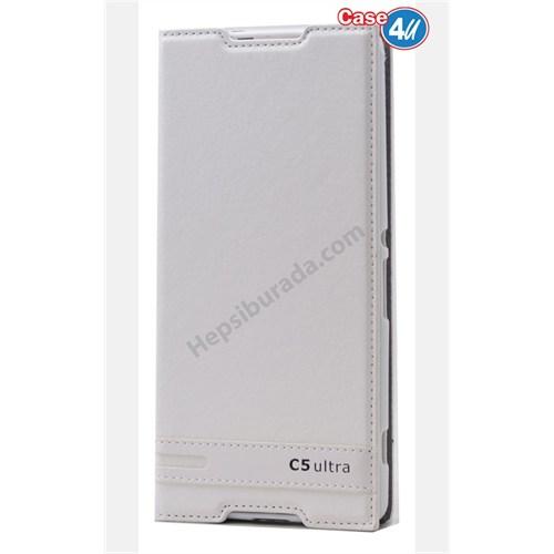 Case 4U Sony Xperia C5 Ultra Gizli Mıknatıslı Kapaklı Kılıf Beyaz