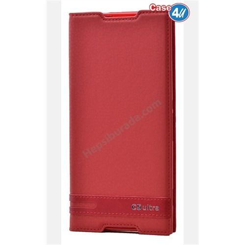 Case 4U Sony Xperia C5 Ultra Gizli Mıknatıslı Kapaklı Kılıf Kırmızı