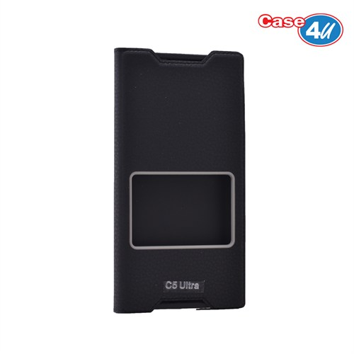 Case 4U Sony Xperia C5 Ultra Pencereli Kapaklı Kılıf Siyah