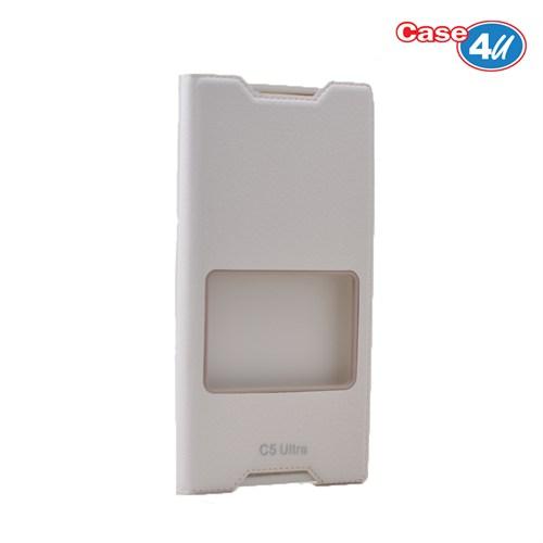 Case 4U Sony Xperia C5 Ultra Pencereli Kapaklı Kılıf Beyaz