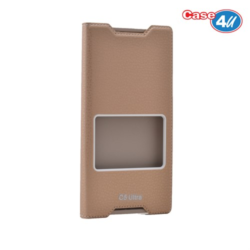 Case 4U Sony Xperia C5 Ultra Pencereli Kapaklı Kılıf Altın