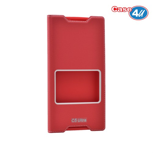 Case 4U Sony Xperia C5 Ultra Pencereli Kapaklı Kılıf Kırmızı
