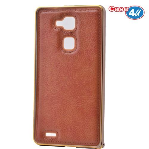 Case 4U Huawei Mate 7 Metal Çerçeveli Suni Deri Arka Kapak Kahve