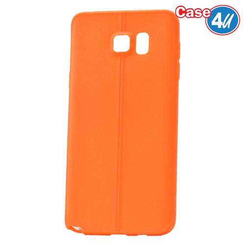 Case 4U Samsung Galaxy Note 5 Desenli Silikon Kılıf Turuncu