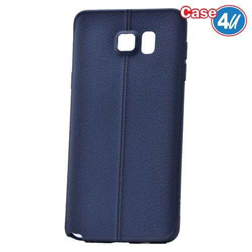 Case 4U Samsung Galaxy Note 5 Desenli Silikon Kılıf Lacivert