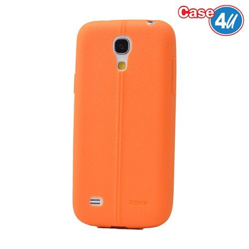 Case 4U Samsung Galaxy S4 Mini Desenli Silikon Kılıf Turuncu