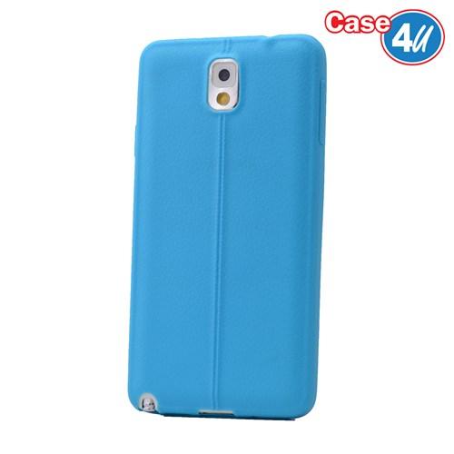 Case 4U Samsung Galaxy Note 3 Desenli Silikon Kılıf Mavi